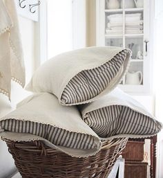 Finally got some more linen and ticking pillows made today...available in my Etsy shop FARMHOUSE SUPPLY!! #farmhouse5540 #farmhousestyle