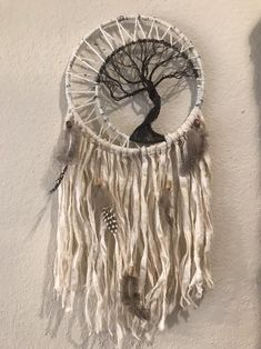 Hand made tree of life dreamcatcher. Made to order, so finished product may slightly differ from original picture. The tree is made of wrapping wires. Cotton fabric is hand dyed in organic tea leaves. Guinea feathers and wooden bead accents. Old Wine Bottles, Recycled Wine Bottles, Wine Bottle Crafts, Dream Catcher Patterns, Dream Catcher Craft, Gothic Home, Shell Crafts, Clay Pot Crafts, Handmade Home