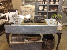 Galvanized desk by The Junk Girls @ A Beautiful Mess