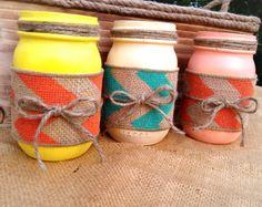 Mason jars painted,Painted mason jars, decorated mason jars, rustic decor, spring decorations by QUEENBEADER