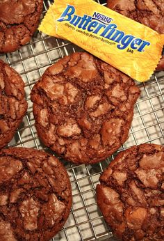 Butterfinger Brownie Cookies #recipe  (for my husband, he loves butterfingers) None for me I am gluten free now! but I'm sure he would love these!