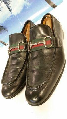 717a77363e1 Gucci Men s Size 9 US Genuine Leather Horsebit Loafers Dress Shoes Black  EUC  Gucci