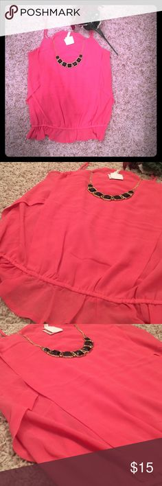 Sleeves pink blouse. Pink blouse . Necklace is not included Tops Blouses