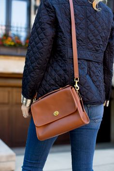 Burberry Quilted Jacket with Coach Bag