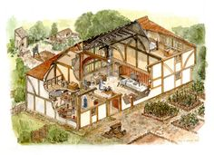 Medieval manor house in East Sussex Medieval Houses, Medieval World, Medieval Fantasy, Through The Roof, Fantasy City, House Illustration, House Drawing, Historical Architecture, East Sussex