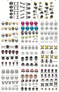nail art sticker holiday nail sticker skull sticker water transfer 11pcs total-in Stickers & Decals from Beauty & Health on Aliexpress.com