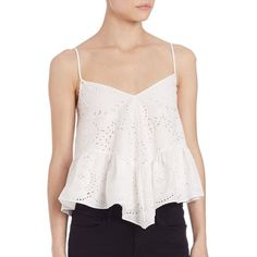 BCBGMAXAZRIA Hanae Eyelet Boho Blouse ($260) ❤ liked on Polyvore featuring tops, blouses, apparel & accessories, off white, v neck blouse, vintage white blouse, off white blouse, boho tops and v neck pullover