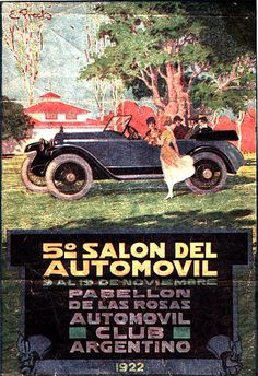 Vintage 1922 Argentina Automovil Club Poster