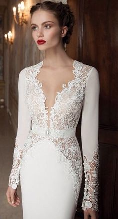 White dress with lace v-neck top