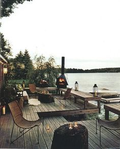 River deck. Love the bench around edge.