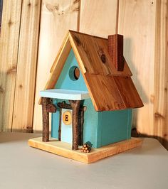 Handmade birdhouse designed by the customer on the Etsy site. Bird Houses Painted, Bird Houses Diy, Bird House Feeder, Bird Feeders, Birdhouse Designs, Birdhouse Ideas, Bird House Kits, Easy Coffee, Bird Aviary