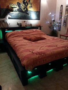 Pallet Bed with Lights - 99 Pallets