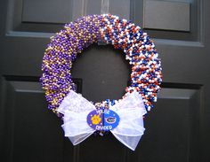 Customizable House Divided Beaded Wreath by APinkLemonadeDesigns