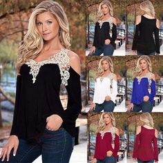 New Fashion Women Long Sleeve Shirt Casual Lace Blouse Loose Tops T-Shirt | eBay