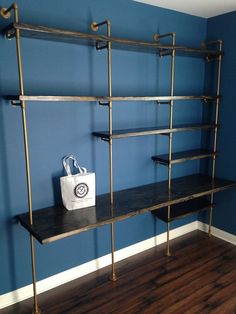 Industrial Furniture Shelving Unit (Modern wood shelf w/ desk, Industrial chic furniture, pipe shelving unit) w/ optional reclaimed wood #etsy #woodworking