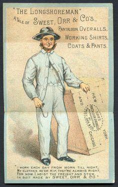 "c.1885 ""The Longshoreman"" Sweet, Orr & Co., Metamorphic Trade Card"