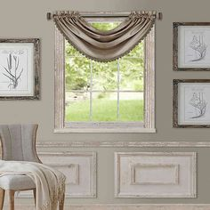 Bring classic style to your windows with the All Seasons Waterfall Window Valance. Boasting a substantial drape, this sleek and timeless valance is adorned with tonal scalloped trim, and hangs on a convenient rod pocket. Long Curtains, Window Curtains, Curtain Panels, Window Panels, Diy Curtains, Country Curtains, Kitchen Curtains, Waterfall Valance, Thing 1