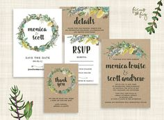 Wedding Invitation Set Kraft Printable wedding by FicusAndFig