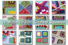 Crochet Square Pattern - Choose your favorite granny square joining method to join your granny square projects. 12 ways to join granny squares, 8 basic joints and 4 fancy joints. Joining Crochet Squares, Granny Square Crochet Pattern, Crochet Blocks, Crochet Motif, Crochet Stitches, Crochet Patterns, Free Crochet, Crochet Flower, Blanket Crochet