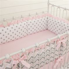 Pink And Gray Chevron Crib Bumper With Ruffle