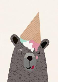 Displate Poster I love ice cream! bear #teddybear #illustration #childrenillustration #cute #colorful #fun #funny #pretty #animals