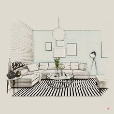 Andrii Bondarenko (We Draw) Interior Architecture Drawing, Interior Design Renderings, Architecture Concept Drawings, Drawing Interior, Architecture Sketchbook, Interior Rendering, Interior Sketch, Home Interior Design, Architecture Design