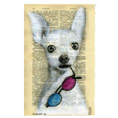 chiwawa 3d ORIGINAL Hand Painting mixedmedia on page of antique Italian Latin dictionary of the year 1915 original unique artwork