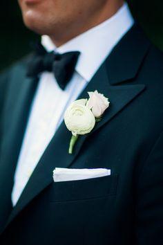 Elegant boutonniere: http://www.stylemepretty.com/2014/04/17/black-tie-botanic-garden-wedding/   Photography: Three Nails - http://threenailsphotography.com/