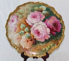 RARE EXCEPTIONAL HUGE Antique Limoges 15 3/4 Hand Painted Rococo Wall Charger Plaque ~  SIGNED by the Listed Artist, SOLIS ~ Limoges Art Porcelain Co.