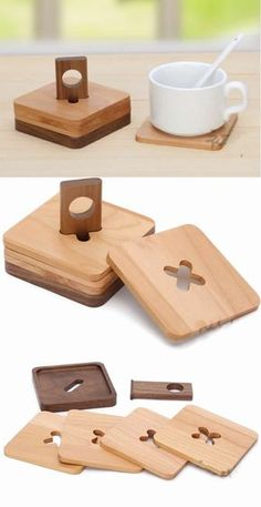 Wood Coaster Set of 4 with Holder