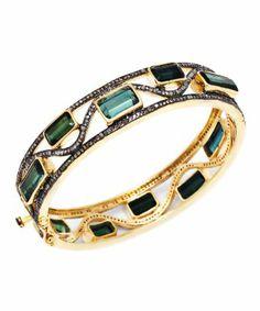 style #330182101 Champagne Diamonds & Tourmaline Stone bangle