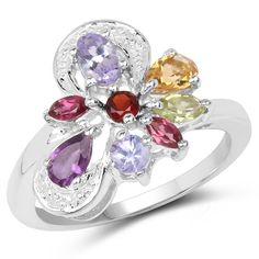 1.15 Carat Genuine Multi Stone .925 Sterling Silver Ring