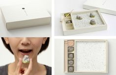 Edible Japanese Zen Rock Garden — The Dieline - Branding & Packaging Japanese Rock Garden, Zen Rock Garden, Japanese Wagashi, Japanese Sweets, Mini Jardin Zen, Innovation, Japan Garden, Food Design, Packaging Design