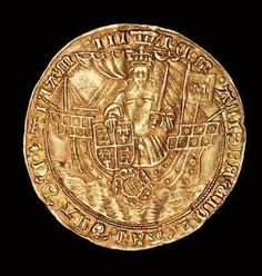 Rare English Coin, Gold Ryal, Queen Mary (Bloody Mary) in ship with sword and shield, 1553 - 1554 Tudor History, British History, Ancient History, English Coins, Medieval, Gold And Silver Coins, Antique Coins, Rare Coins, Ancient Artifacts