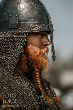 Viking warrior in chainmail and with a plaited beard