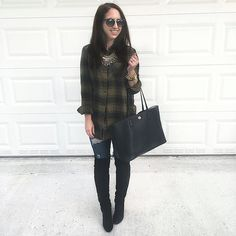 This plaid shirt comes in 10 colors and these boots are still 20% off and my necklace is als... @liketoknow.it www.liketk.it/1XlYb #liketkit