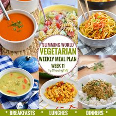 Slimming Eats Vegetarian Weekly Meal Plan - Week 11 - Slimming World Recipes - taking the work out of planning so that you can just cook and enjoy the food. Slimming World, Slimming Eats, Slimming Recipes, Diet Soup Recipes, Healthy Dinner Recipes, Vegetarian Recipes, Savoury Recipes, Vegetarian Weekly Meal Plan, Healthy Foods To Eat