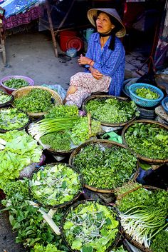 Greens for sale . Vietnam