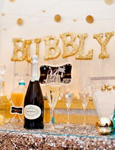 Sweet & Sparkly Bubbly Bar {New Year's Eve & Beyond!} // Hostess with the Mostess® … - Neujahr Bubbly Bar, Champagne Bar, Champagne Bottles, Champagne Birthday, Glitter Party, Sparkle Party, New Year's Eve Celebrations, New Year Celebration, Birthday Celebration