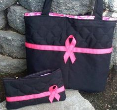 Breast Cancer Tote Bag / Matching Small Bag / Purse / BLACK and HOT PINK / Handmade on Etsy, $37.00