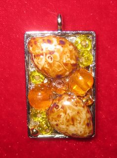 Semi precious stone and glass bead pendant - for sale at <a href='http://www.barefootintheglass.c