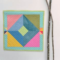 Wall Hanging Quilted Wall Art Mini Quilt Modern by TwiggyandOpal, $42.00