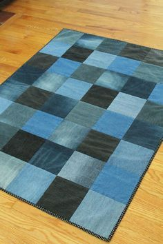 Sophisticated Upcyling  Made from denim jeans, this quilt is soft and comfy, just like a pair of perfectly broken-in jeans. Shades of denim range from