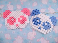 Perler Bead Panda Necklace - Pink and Blue - Pick one. $4.00, via Etsy.