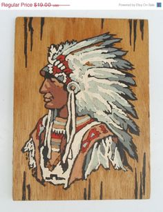 SUMMER SALE Vintage Native American Painting on Plywood, Indian, Chef, Head Dress, Paint by Numbers, Art, Red, Grey, Black, Brown