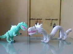 Origami 3d chinese dragon vs t rex
