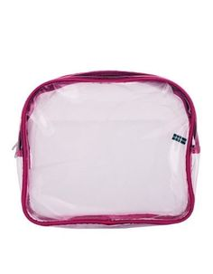 Large Clear Plastic Cosmetic make-up toiletries case Bag -Pink Trim - Great for Airline TRAVEL Kole. $5.99