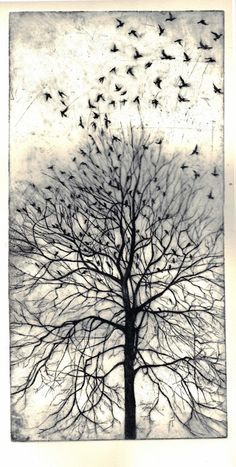 From the Trees (etching) by Philippa Jones via Etsy.... Not to satisfy you of the horizon. It looks for the infinite.....