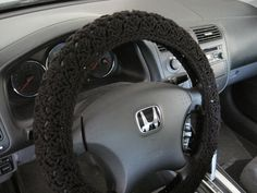 Crochet Steering Wheel Cover, Wheel Cozy - black (CSWC 2GGG)