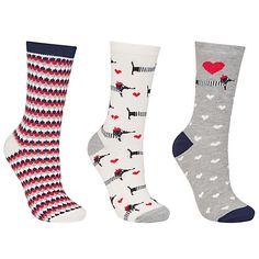Buy John Lewis Sausage Dog Print Ankle Socks, Pack of 3, Multi Online at johnlewis.com